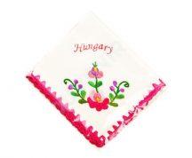 Matyó mintás hímzett zsebkendő - pink Hungary