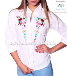 Womens 3/4 sleeve shirt - hungarian folk machine embroidery - Kalocsa design - white