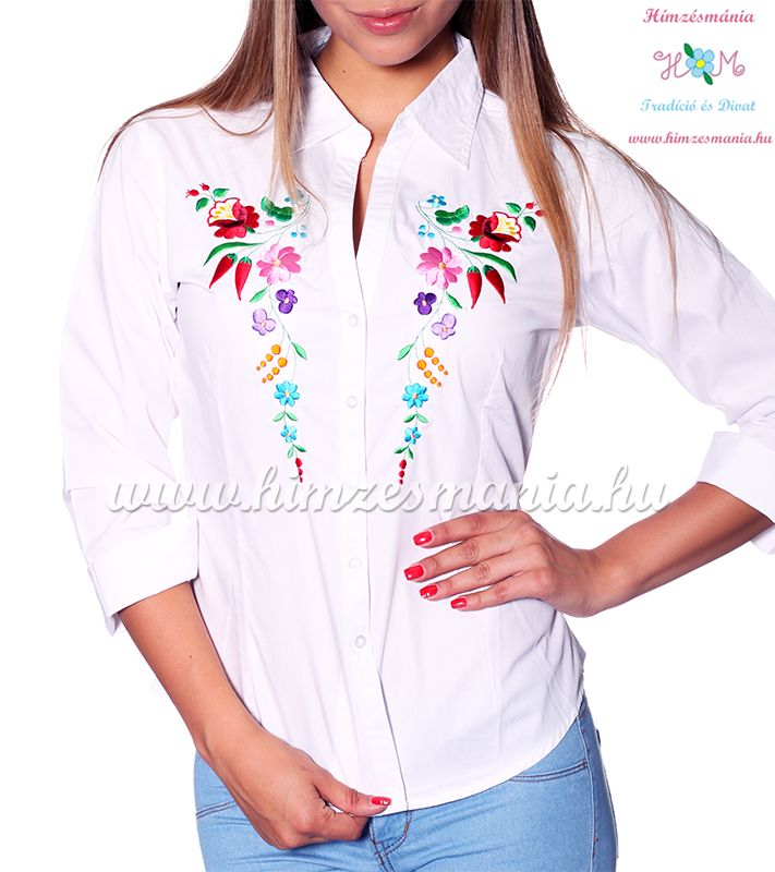 7fef303f63 Womens 3/4 sleeve shirt - hungarian folk machine embroidery - Kalocsa  design - white