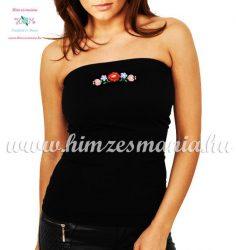 Women's top - hungarian folk fashion - machine embroidery - black