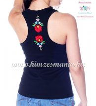 Tank top - machine embroidery - hungarian Kalocsa design - black - Embroidery Mania