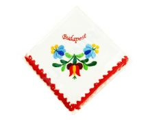 Handkerchief - hungarian folk embroidery - Matyo style - red