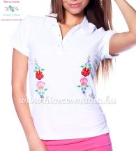Women polo shirt - hungarian folk  machine embriodery - Kalocsai design - white