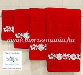 Piros kéztörlő, törölköző, fürdőlepedő fehér kalocsai motívummal - gép hímzés