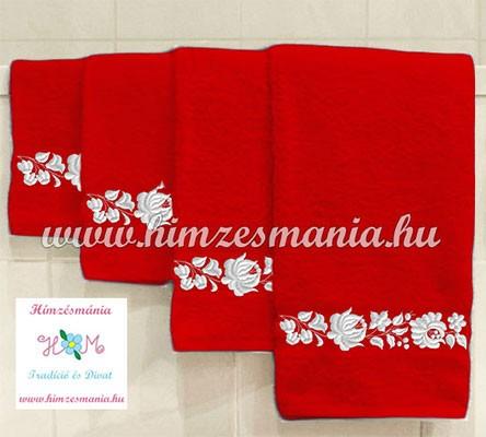 a779cecd39 Piros kéztörlő, törölköző, fürdőlepedő fehér kalocsai motívummal - gép  hímzés