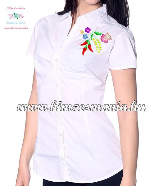 3870101037 Rövid ujjú női ing - kalocsai minta - gépi hímzés - fehér ...