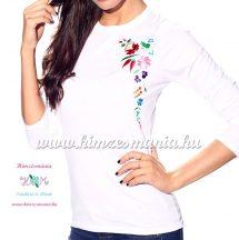 Ladies long sleeve T-shirt - hungarian folk machine embroidery - white