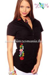 Women's short sleeve shirt - hangarian hand embroidery - style Kalocsa - black