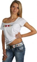 Embroidery Mania - T-shirt Matyo hand-embroidered - white
