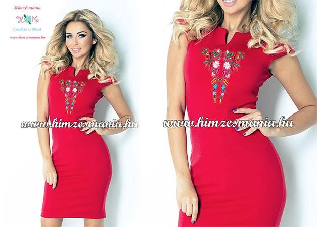 Kalocsai ruha - gépi hímzés - piros - Hímzésmánia  f5e88767f4