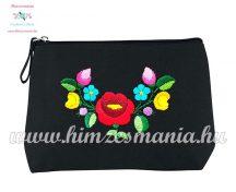 Toiletry bag - folk embroidery - handmade - Kalocsa motif - black