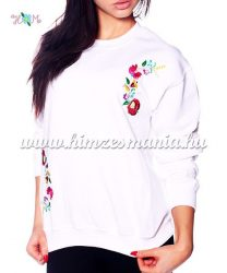 Women sweatshirt - hungarian folk machine embroidery - kalocsai motif - white