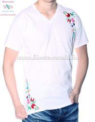 V-nyakú rövid ujjú férfi póló kalocsai hímzett mintával - fehér - Hímzésmánia