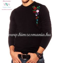 Hosszú ujjú fekete férfi póló kalocsai hímzéssel - Hímzésmánia