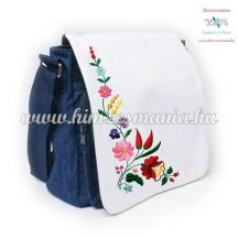 Jeans bag - hungarian folk embroidery - kalocsa style - 27x27x8 cm