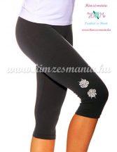 Capri leggings - hungarian folk machine embroidered - Kalocsa rose - gray
