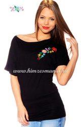 Bet sleeve tunic - hungarian folk machine embroidered - Kalocsa style - black