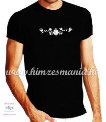 Rövid ujjú férfi póló fehér matyó hímzéssel - Hímzésmánia - fekete