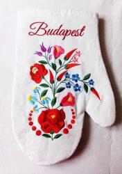 Oven gloves - hungarian folk embroidery- Kalocsa style - white