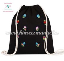 Canvas backpack - folk embroidery - Hungary - Matyo pattern - black